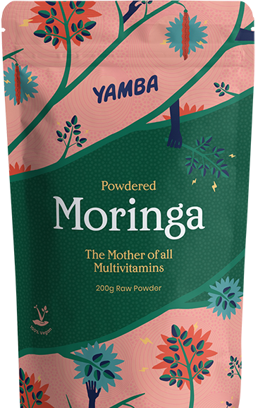 Yamba powdered moringa 500g packaging.